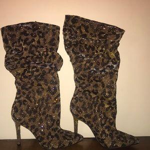 Jessica Simpson Laraine Sparkle Animal Print Boots